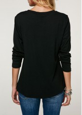 wholesale Long Sleeve Button Detail Printed Christmas T Shirt