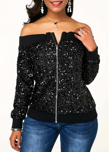 Rosewe Women Sweatshirt Black Sequin Off The Shoulder Long Sleeve - S