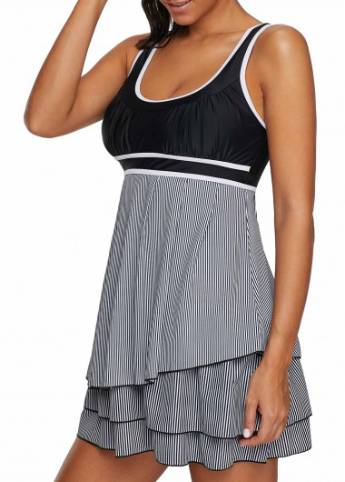 Rosewe Women Swimdress Black Striped Wide Strap Swimsuit Contrast Piping Layered Scoop Back Swimdress and Shorts - L