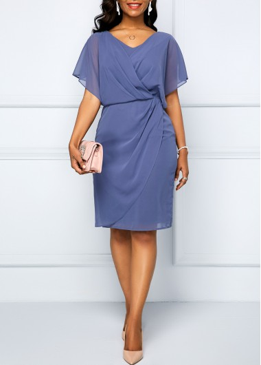 Women'S Dusty Blue Chiffon V Neck Cocktail Party Dress Solid Color Short Sleeve Wrap Draped High Waisted Knee Length Dress By Rosewe - M