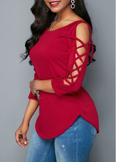 Curved Wine Red Lace Up Sleeve Blouse