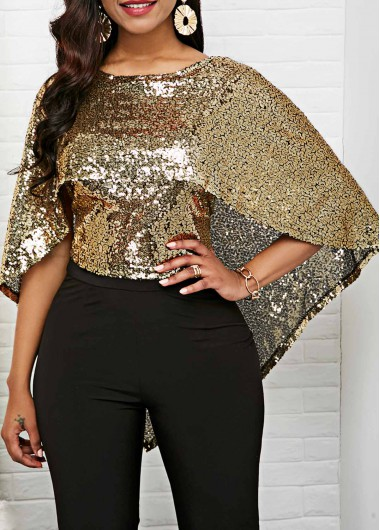 Sequin Embellished Cape Shoulder Scoop Back Blouse