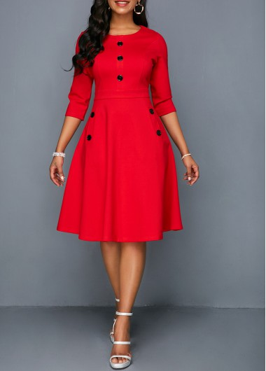 a7b04b1a693 Pocket Red Button Embellished A Line Dress