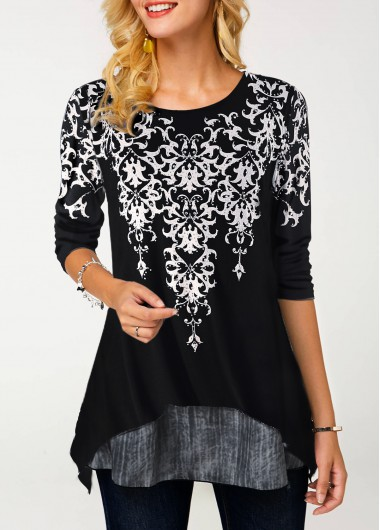 Black Round Neck Long Sleeve Blouse - XL