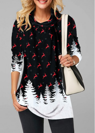 Printed Cowl Neck Long Sleeve Blouse - M