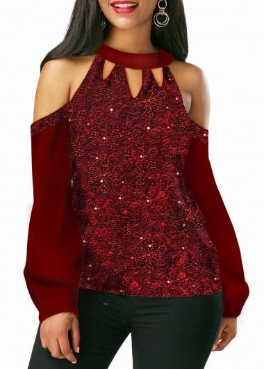 Sequin Embellished Cutout Neck Cold Shoulder Shining Blouse