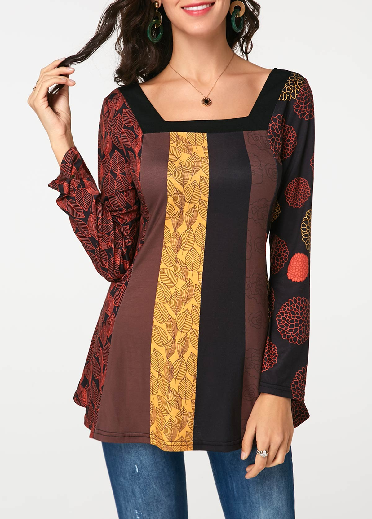 Long Sleeve Square Neck Printed T Shirt