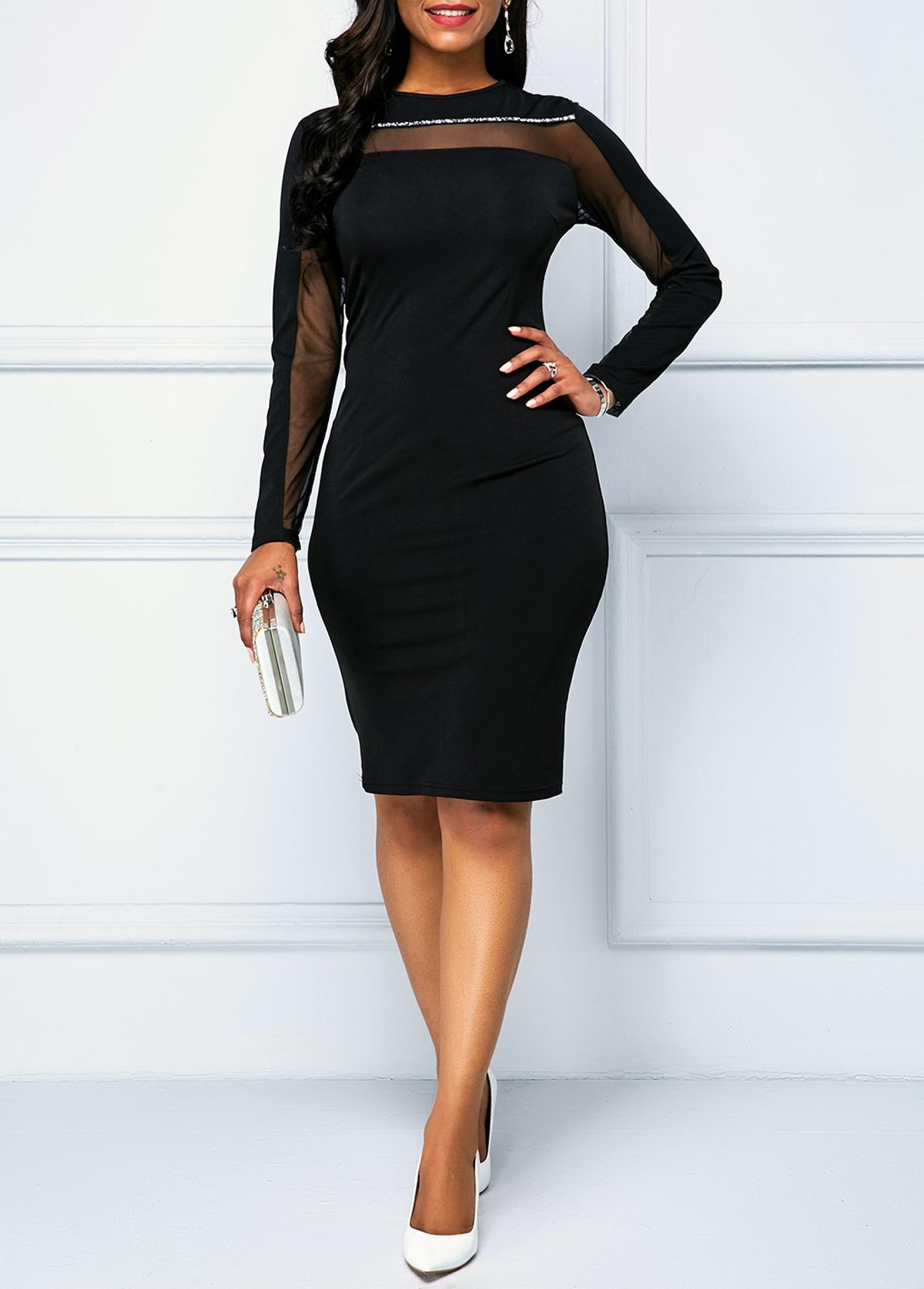 Black Long Sleeve Zipper Back Sheath Dress