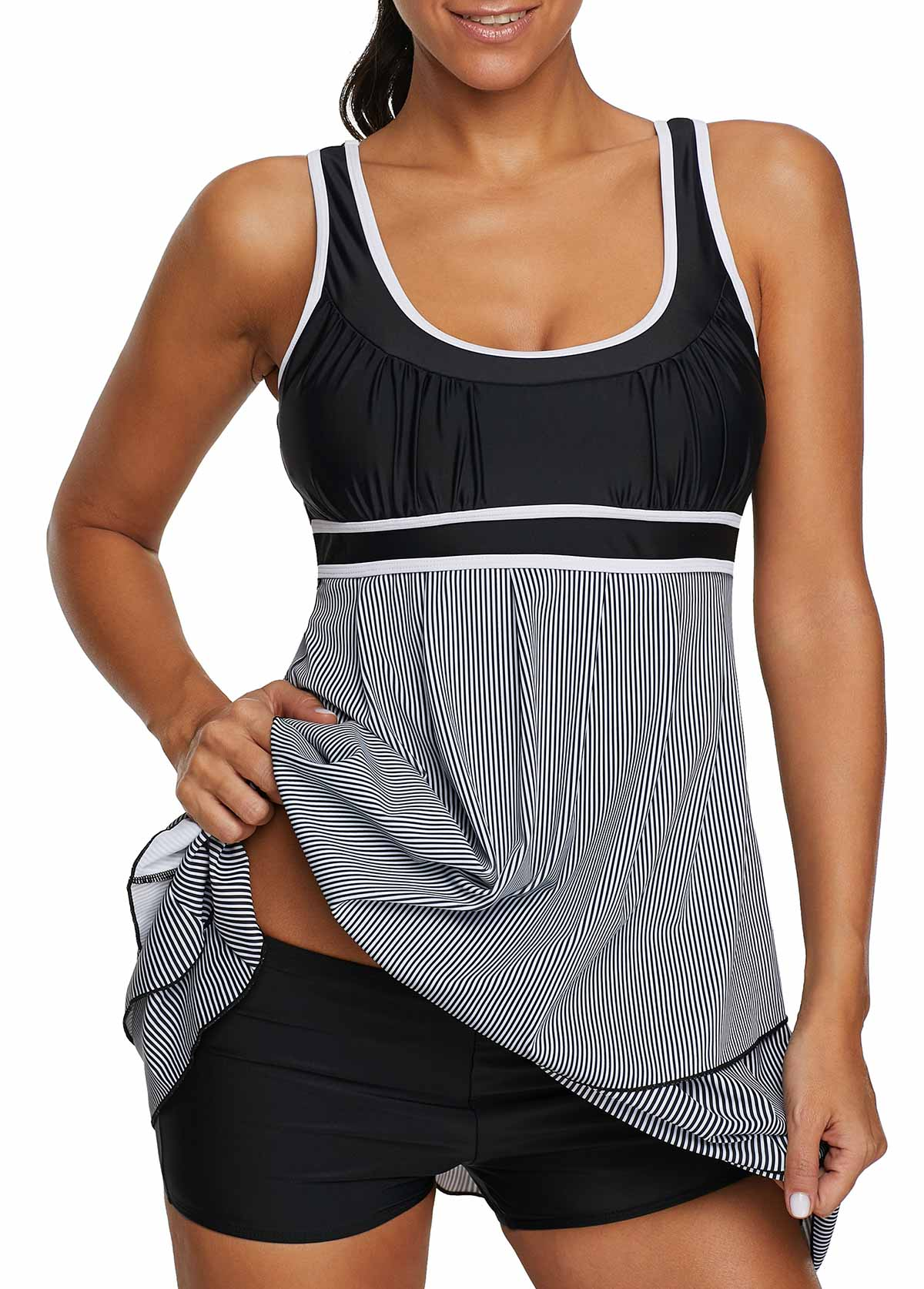 Contrast Piping Layered Scoop Back Swimdress and Shorts