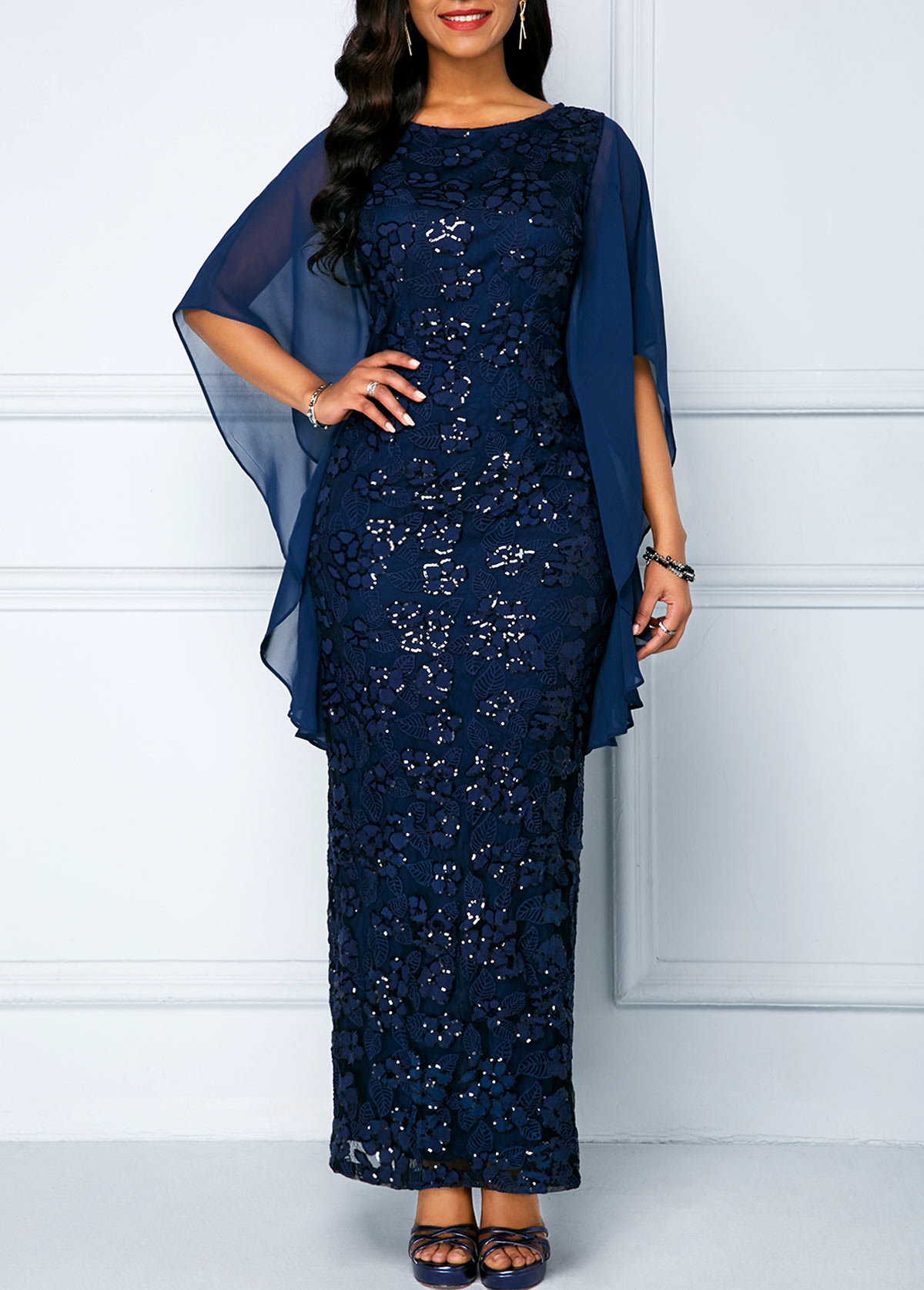 Navy Sequin Embellished Chiffon Panel Lace Maxi Dress