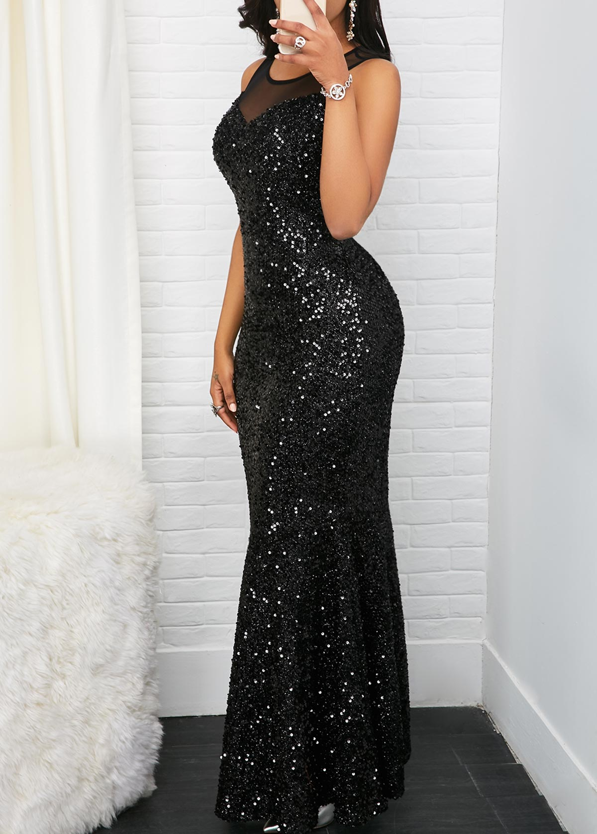 ded72da4f1a02d Black Sleeveless Mesh Panel Sequin Maxi Dress. AddThis Sharing Buttons