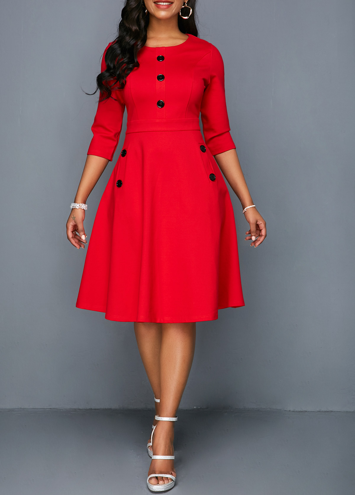 Pocket Red Button Embellished A Line Dress