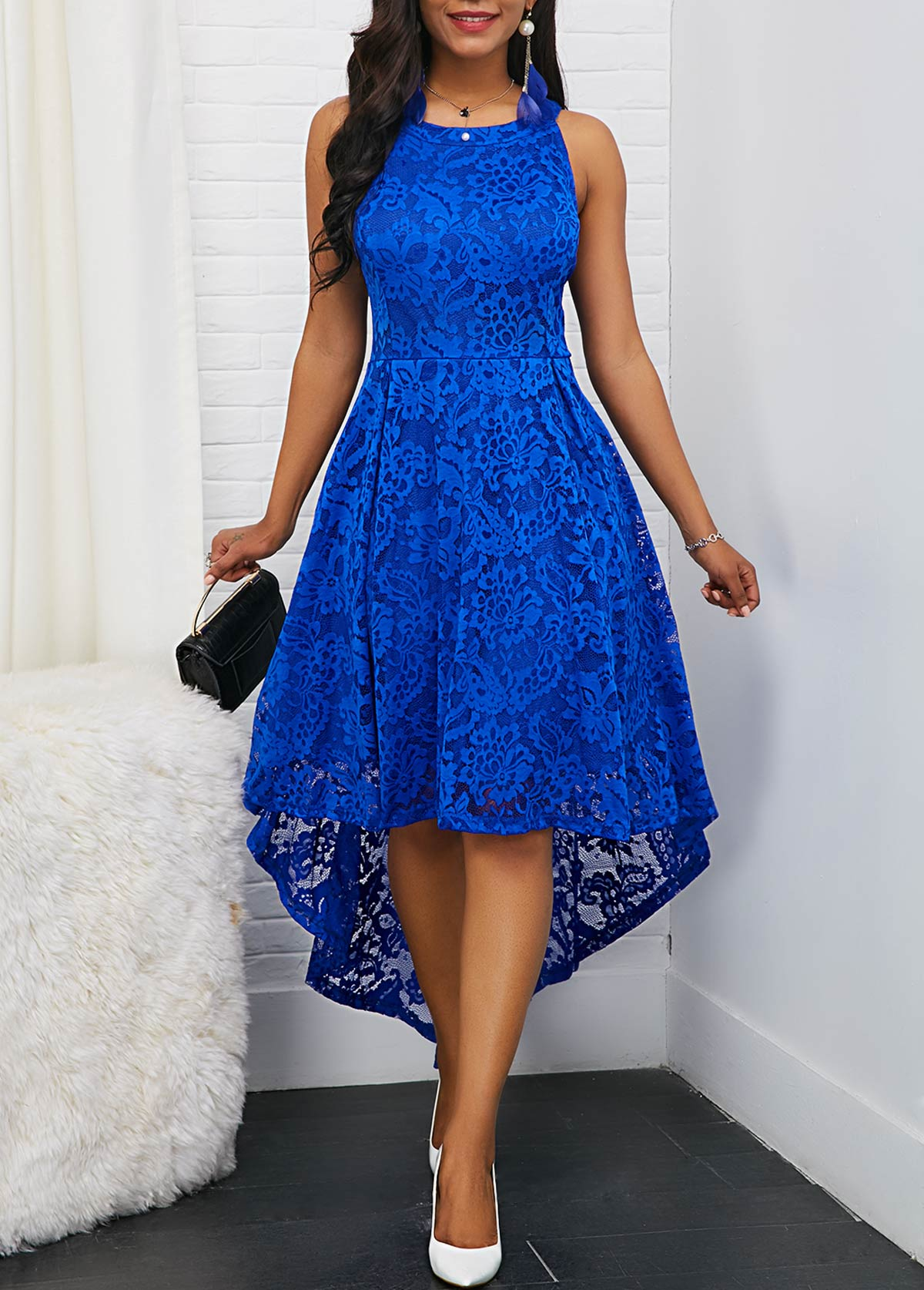 Royal Blue Round Neck Sleeveless High Low Lace Dress