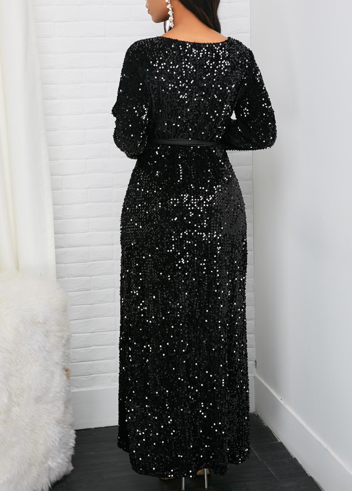 Long Sleeve Front Slit Belted Sequin Dress