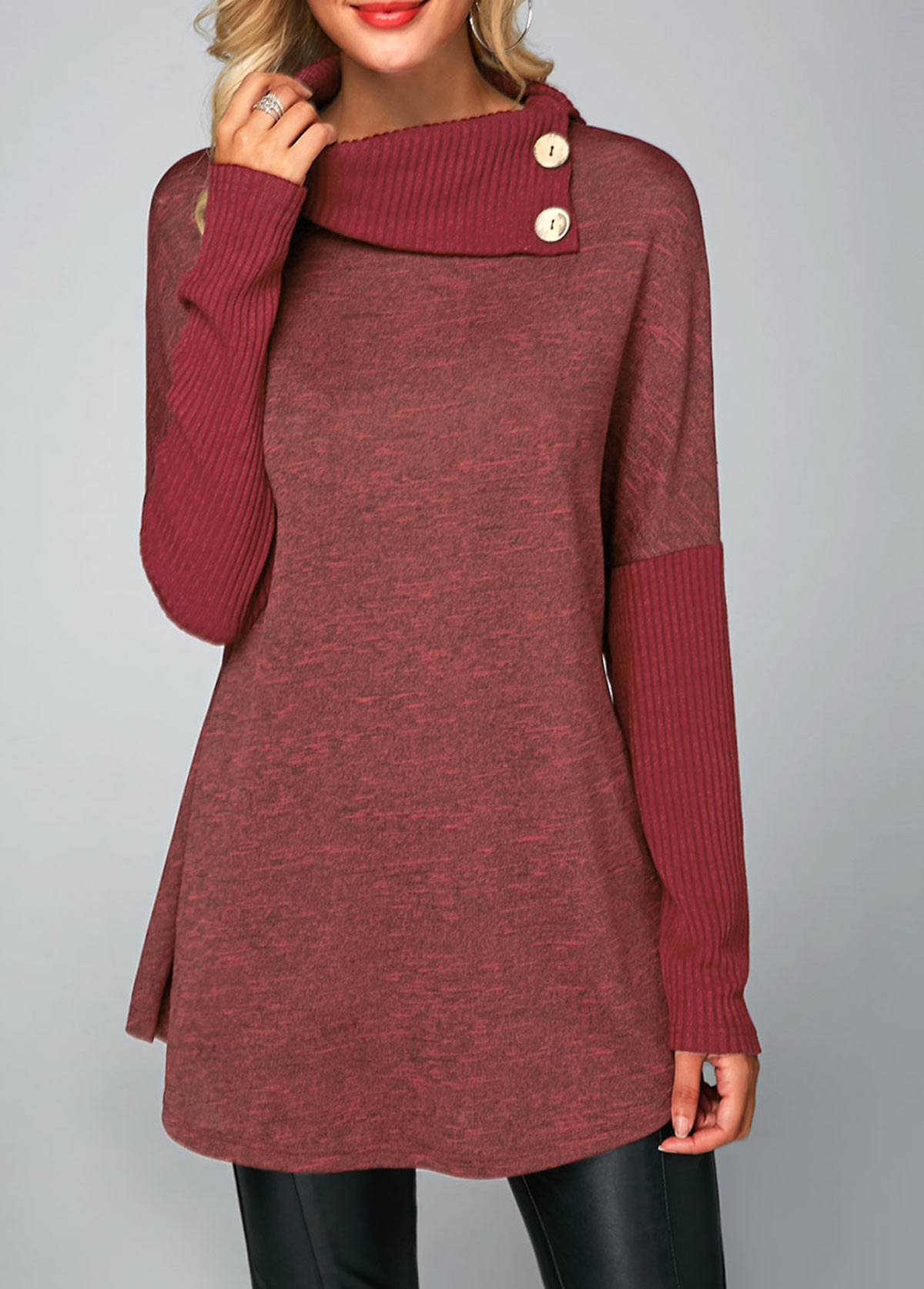 Button Detail Ribbed Long Sleeve T Shirt
