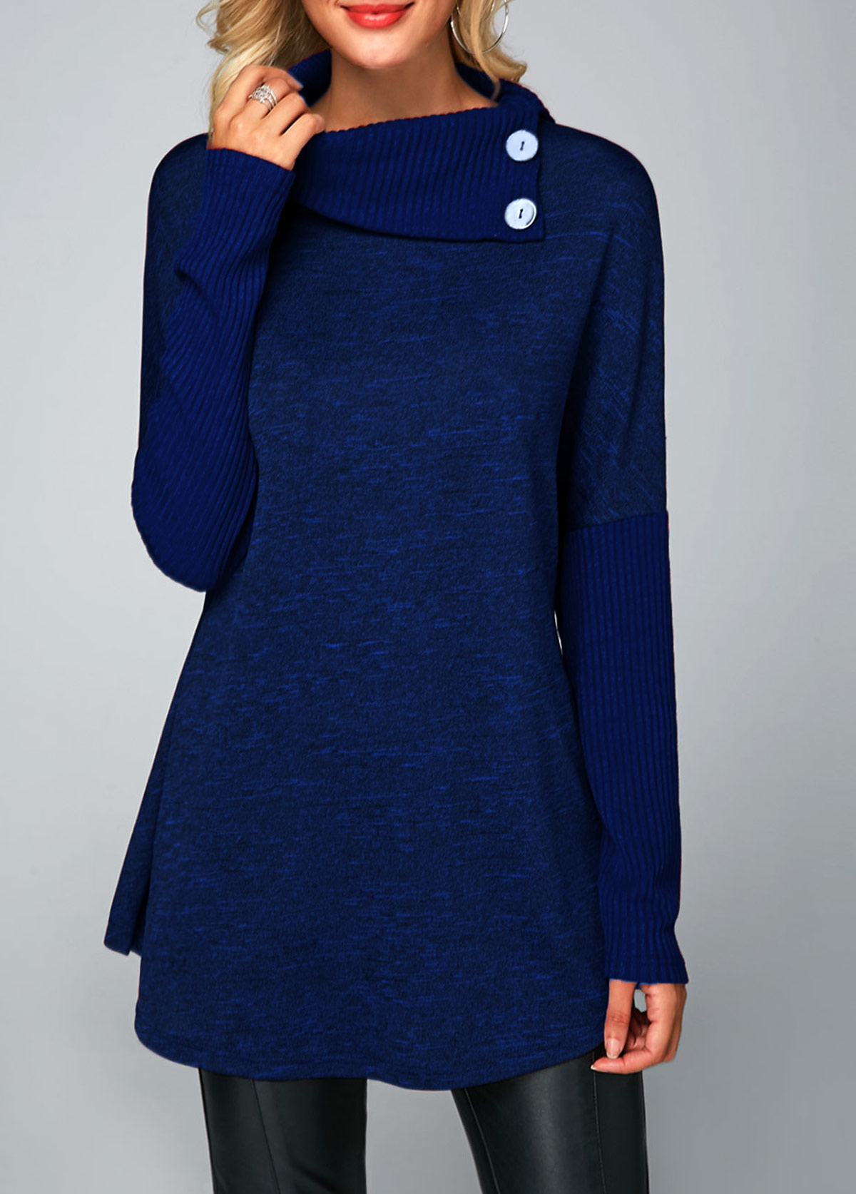 Button Detail Long Sleeve Royal Blue Tunic T Shirt