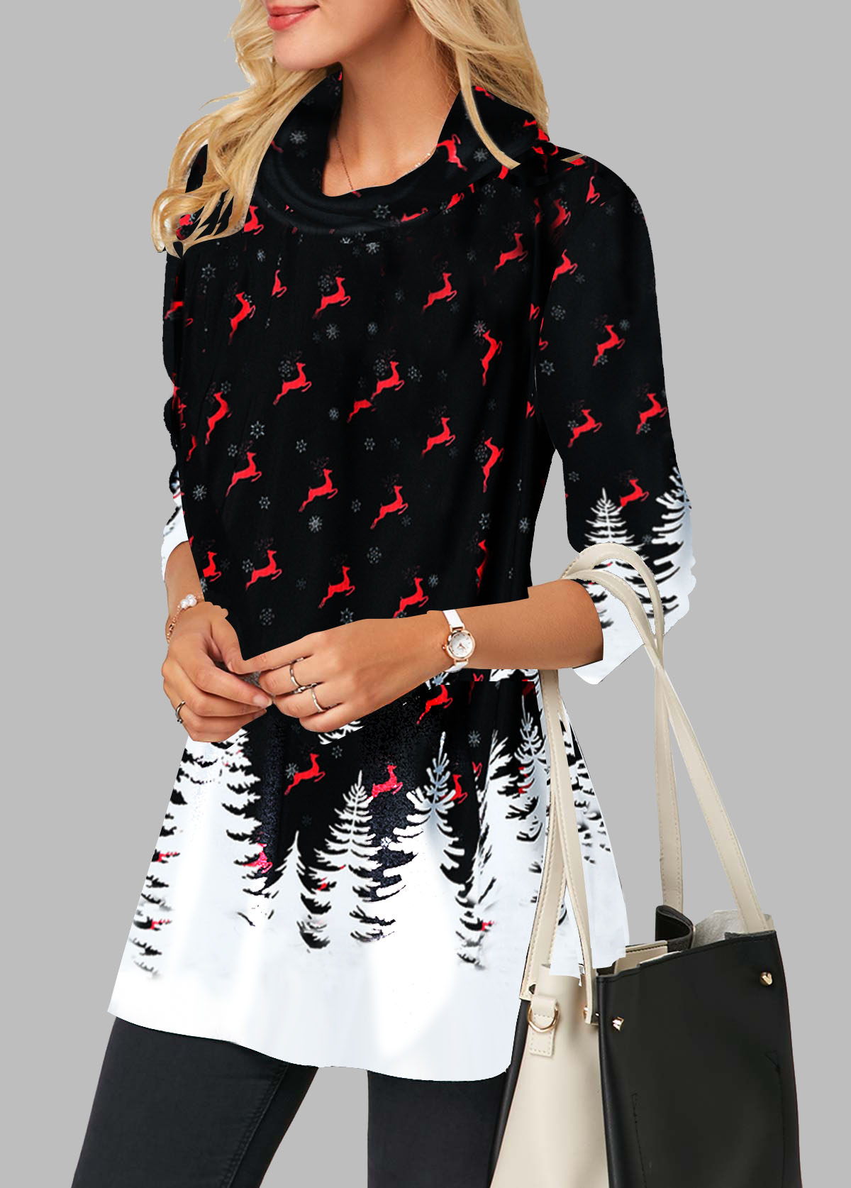 Printed Cowl Neck Long Sleeve Blouse