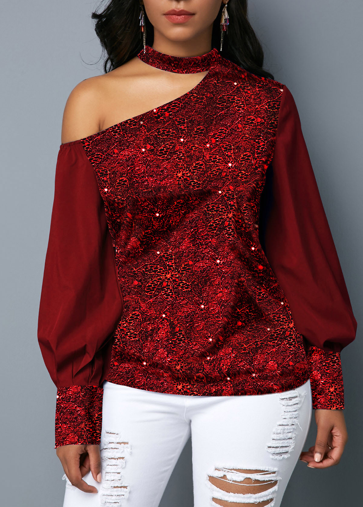 Mock Neck Cutout Shoulder Wine Red Shining Blouse