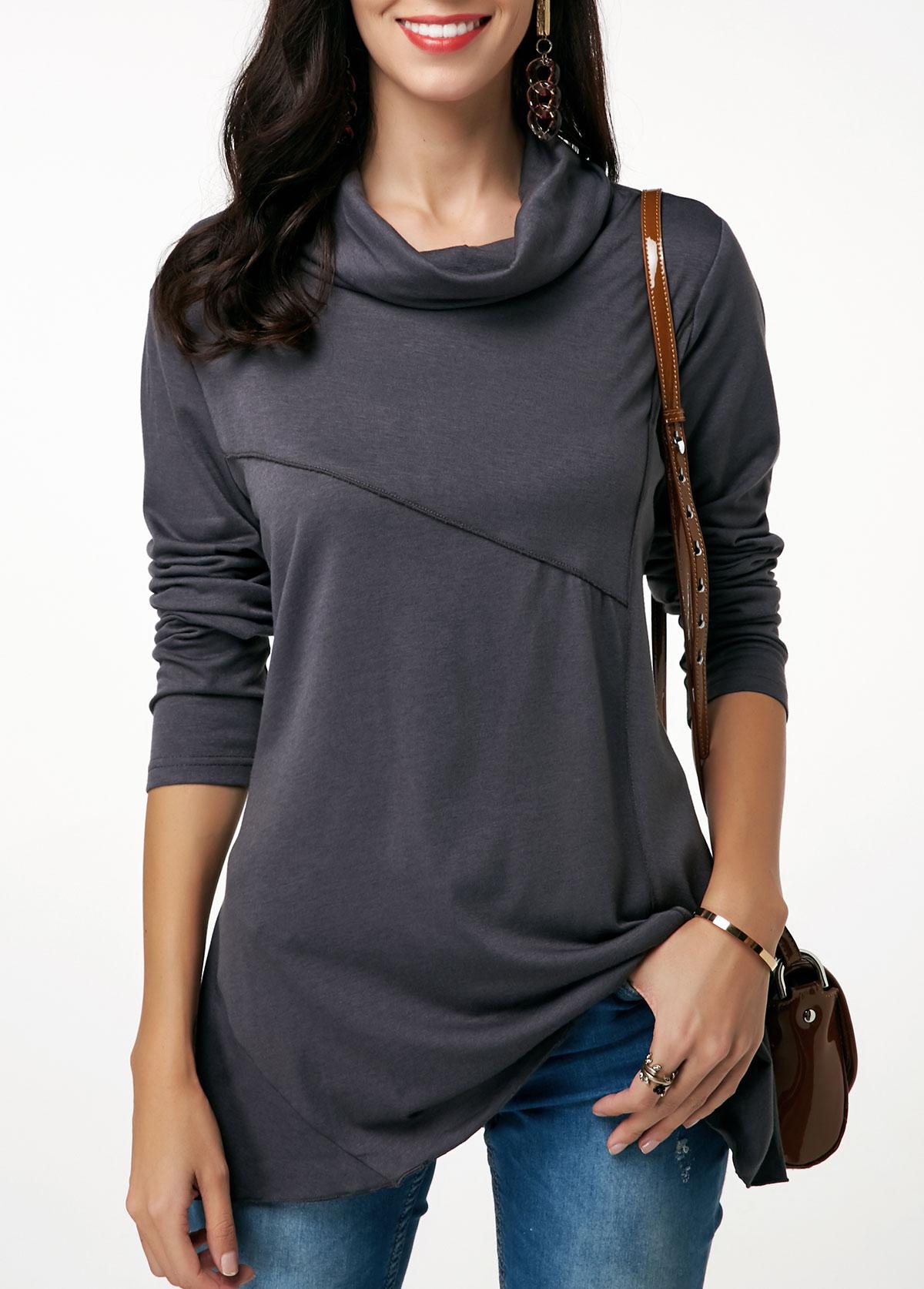 Cowl Neck Dark Grey Long Sleeve Tunic T Shirt