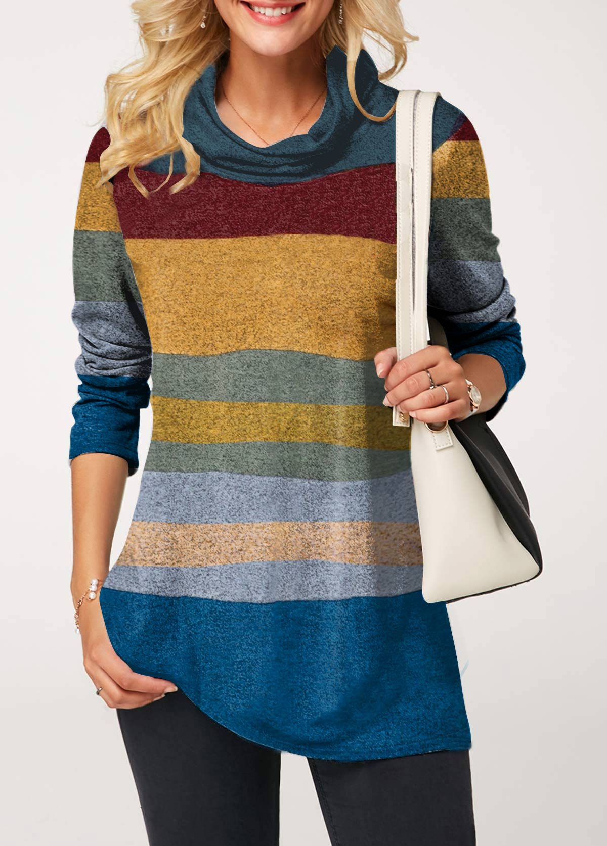 Color Block Long Sleeve Cowl Neck T Shirt