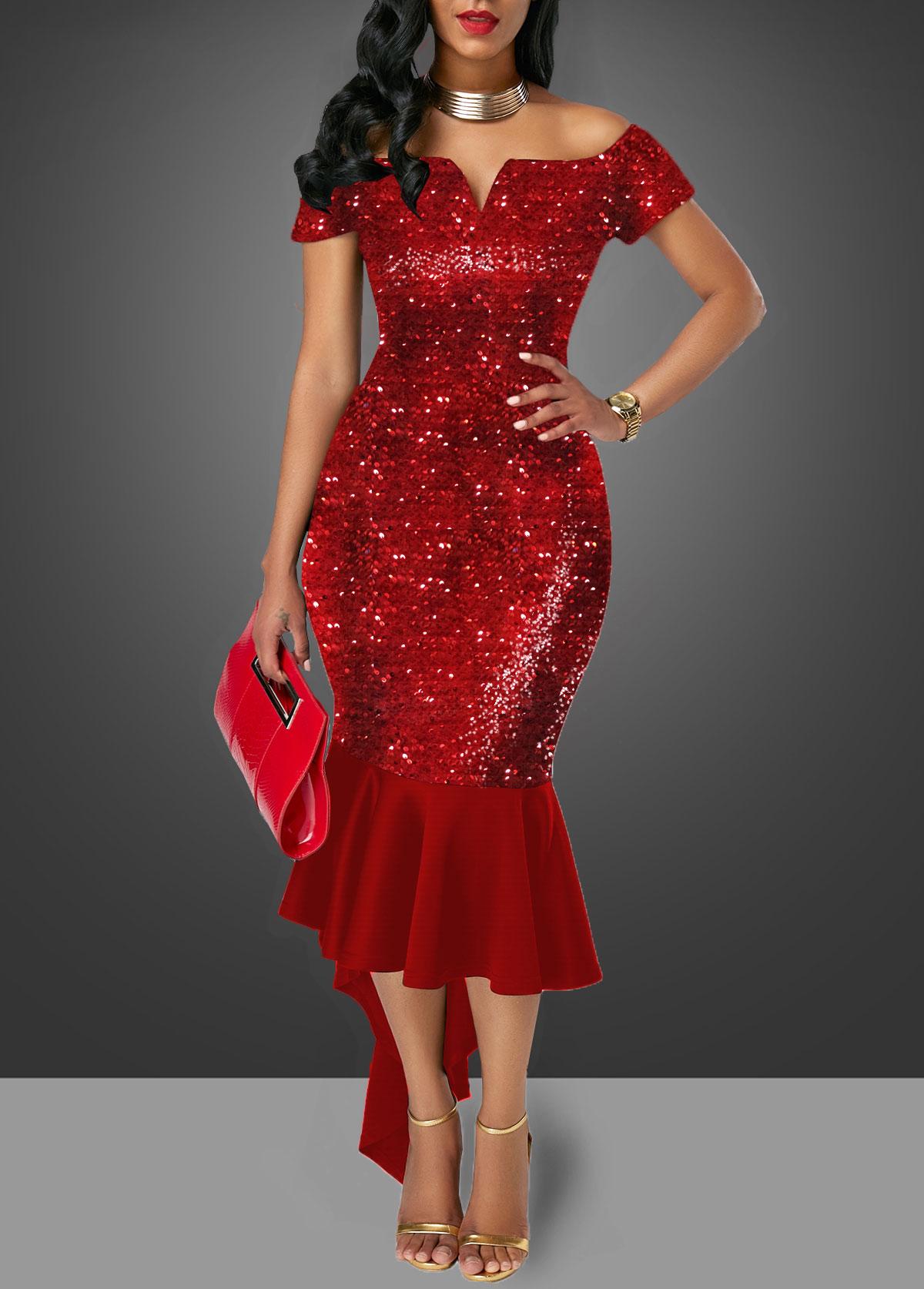Wine Red Off the Shoulder Sequin Embellished Sheath Dress