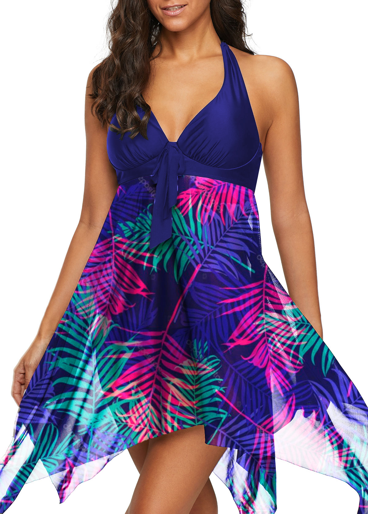 Halter Asymmetric Hem Leaf Print Swimdress and Shorts