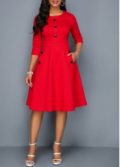 f40f930ab89 wholesale Pocket Red Button Embellished A Line Dress