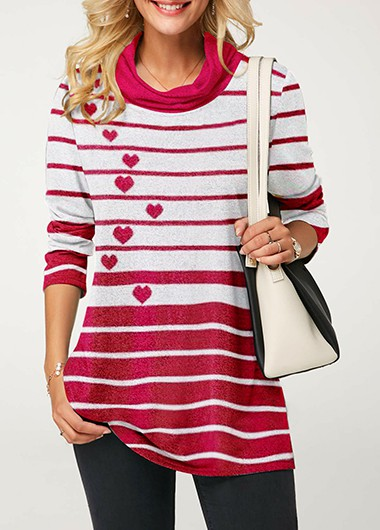 Striped Long Sleeve Cowl Neck Tunic T Shirt - L