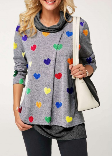Rosewe Women Valentines Day Top Long Sleeve Heart Print Cowl Neck T Shirt - XL