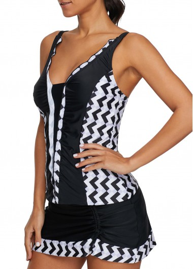 Rosewe Women Black Strappy Tankini Swimsuit Printed Spaghetti Strap Tankini Top and Pantskirt - L