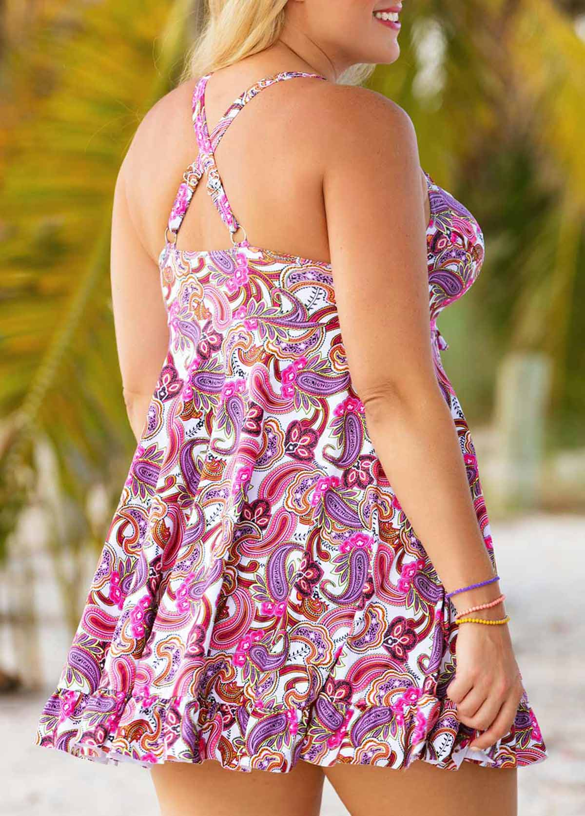 Floral Print Cross Back Plus Swimdress and Panty