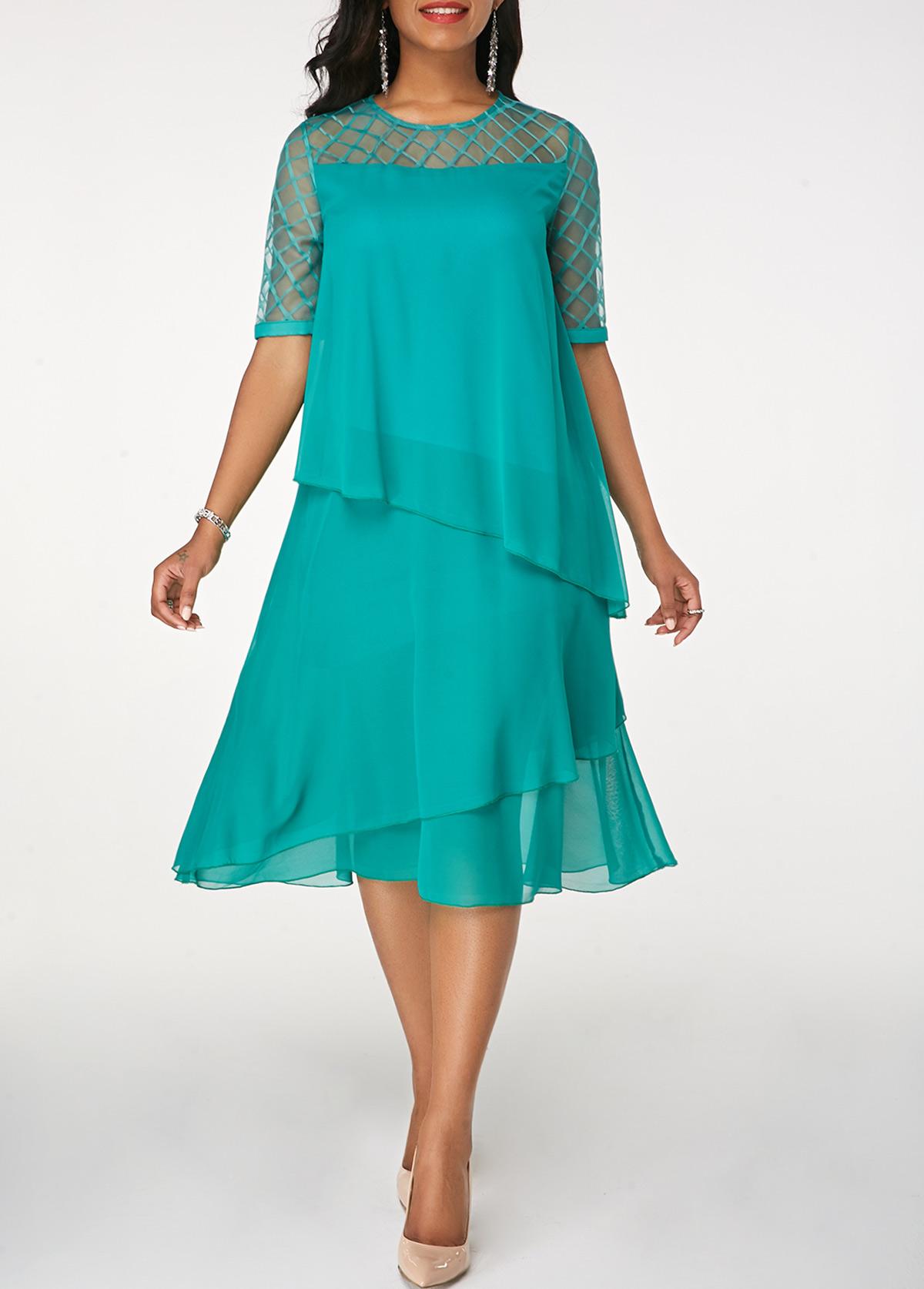 Layered Round Neck Half Sleeve Chiffon Dress