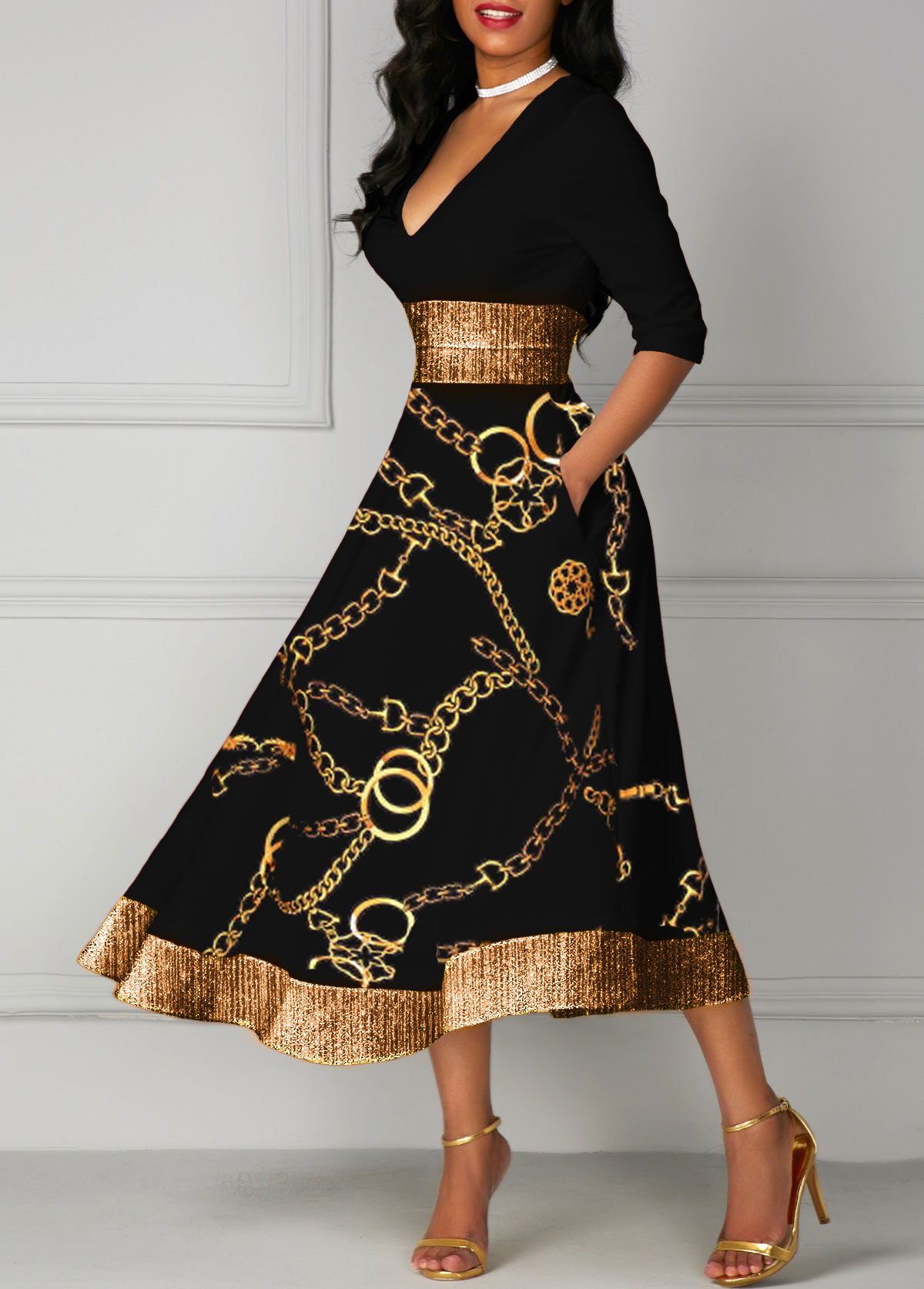 Gold Chain Print Glitter V Neck Midi Dress