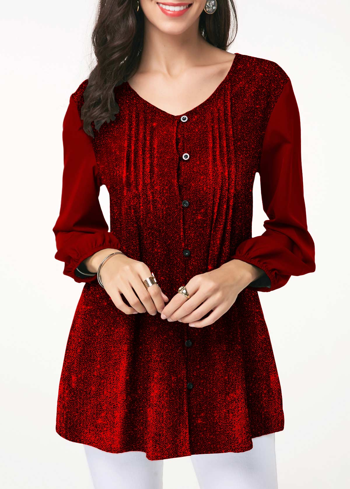 Wine Red Button Front Crinkle Chest Shining Blouse