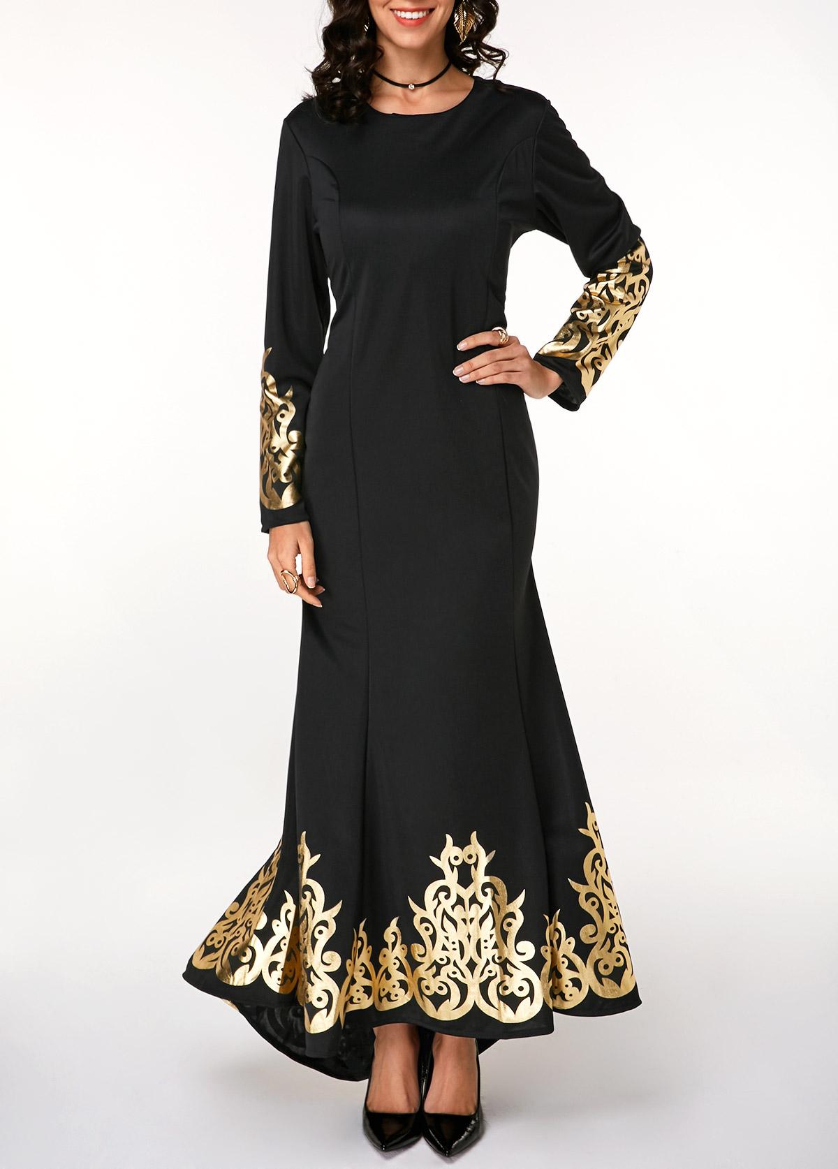 Long Sleeve Retro Print Black Maxi Mermaid Dress