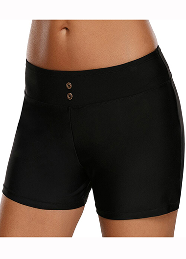 Band Waist Solid Black Swimwear Shorts
