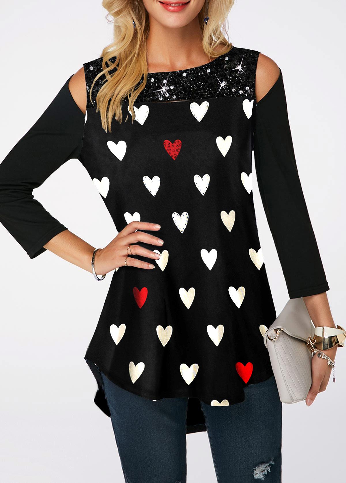 Sequin Embellished Cold Shoulder Heart Print T Shirt