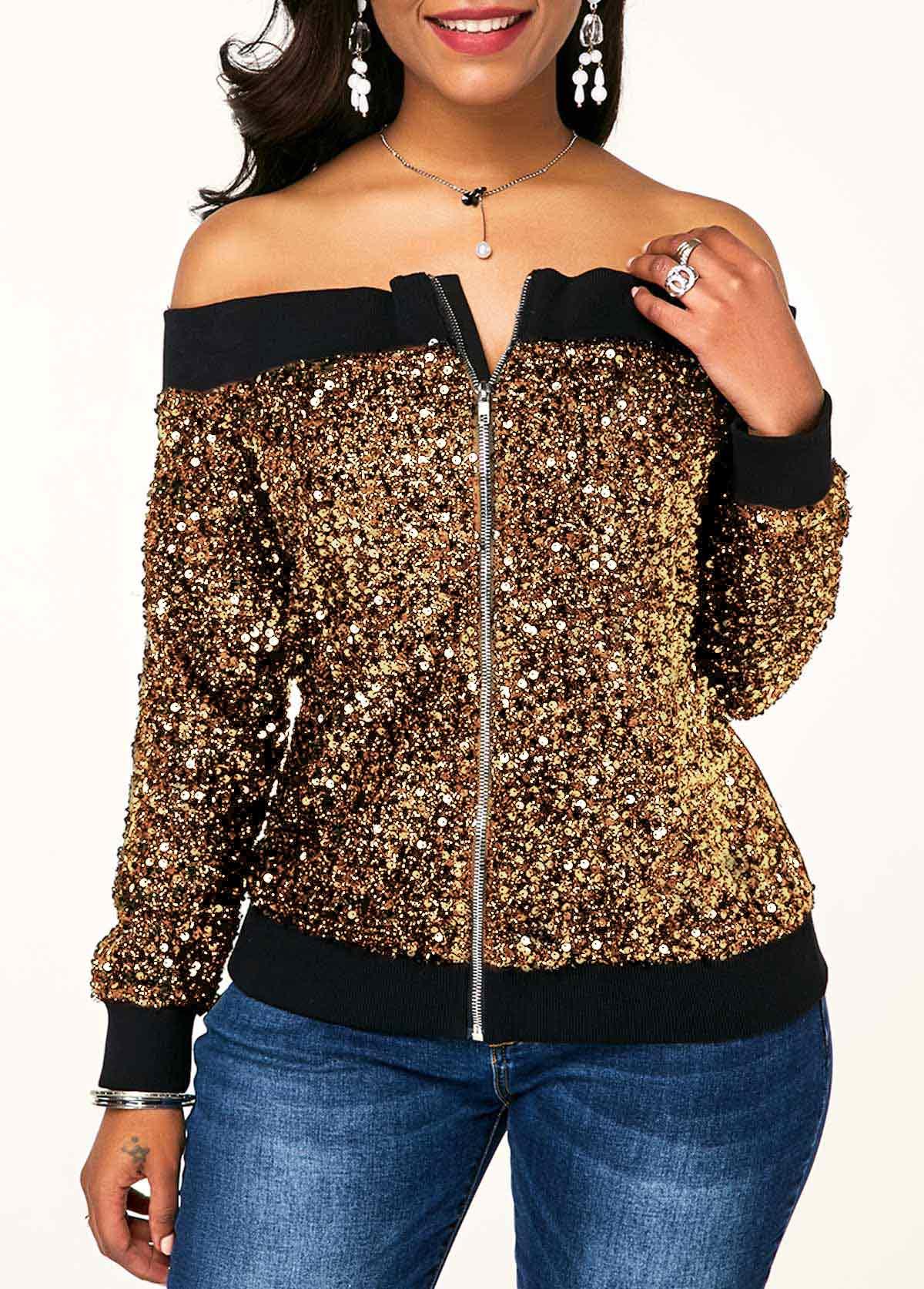 Sequin Embellished Off the Shoulder Zipper Front Sweatshirt