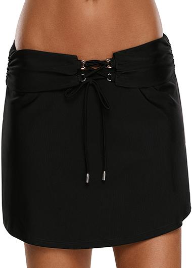 Black Mid Waist Lace Up Front Swimwear Pantskirt