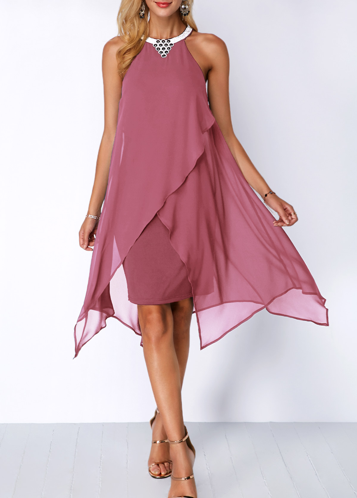 Asymmetric Hem Chiffon Overlay Embellished Neck Dress