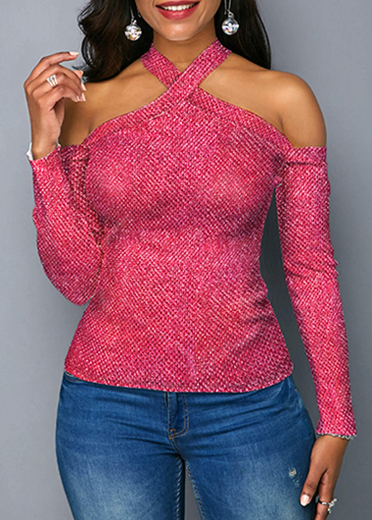 Cross Neck Long Sleeve Rose Pink Sweater