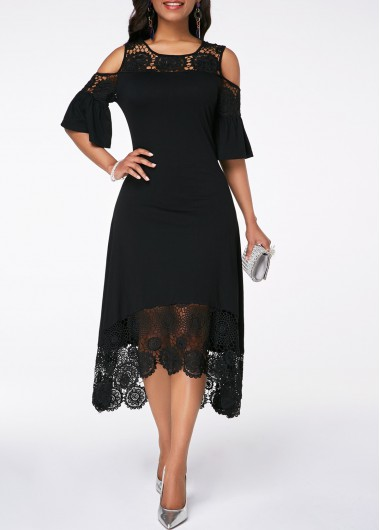 Rosewe Women Dress Black Lace Cold Shoulder Flare Sleeve Shift - L