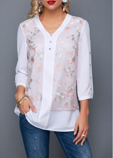 Women'S White V Neck Three Quarter Sleeve Tunic Casual Blouse Lace Panel Button Detail Fall Top By Rosewe - L