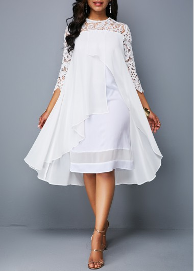 Women'S White Illusion Lace Flyaway A Line Cute Cocktail Party Dress Solid Color Round Neck Three Quarter Sleeve Knee Length High Low Dress - L