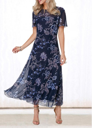 Rosewe Women Dress Navy Blue Spring Chiffon Floral Printed Long Casual - L