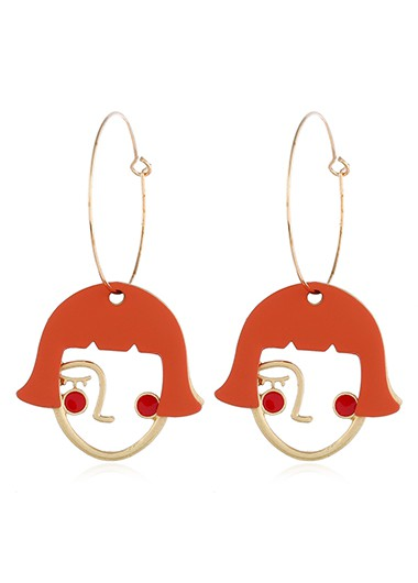 Mother's Day Gifts Abstract Face Orange Red Earrings for Women - One Size