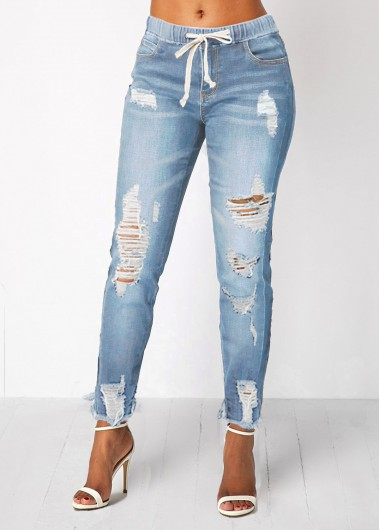 Women High Waisted Blue Jeans With Pockets Light Blue Skinny Distressed Elastic Waist Shredded Denim Pants By Rosewe - L