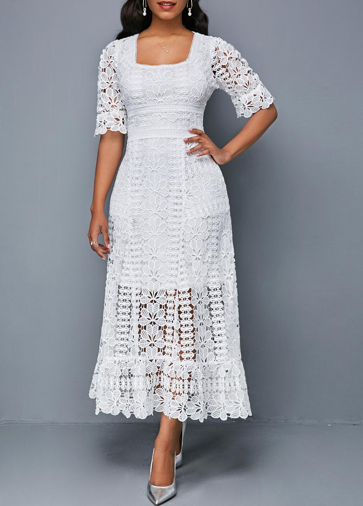 Square Collar White Short Sleeve Lace Dress