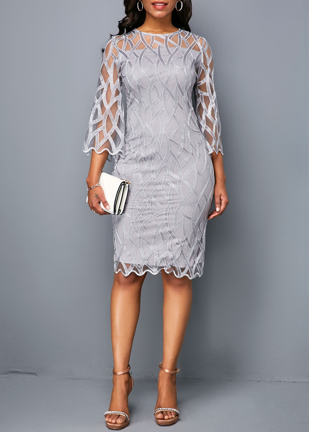 Round Neck Scalloped Hem Light Grey Lace Sheath Dress