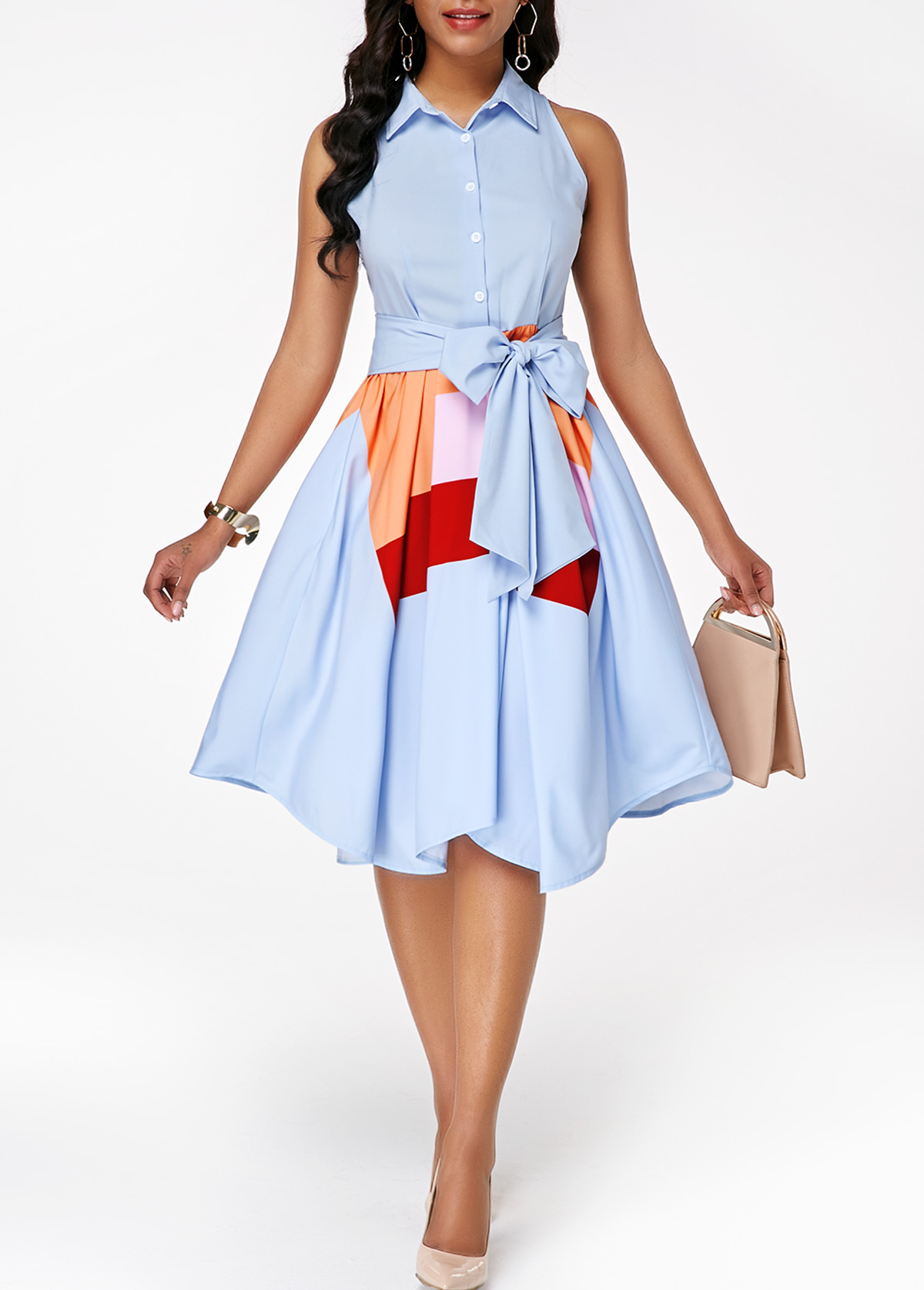 Sleeveless Asymmetric Hem Button Front Belted Dress
